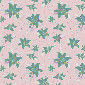 Colorful lilies flower pattern