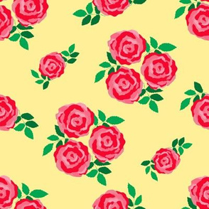 Pink red roses on yellow (large)
