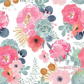 Succulent Bouquet - Pink & White Watercolor Floral - Large - Rotated