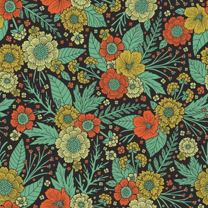 Floral Pattern in Turquoise, Orange & Green