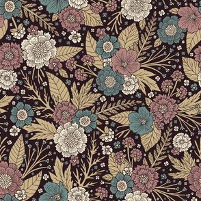 Mauve, Teal & Tan Floral Pattern