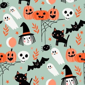 cute halloween fabric - witch, bat, cat, spider, ghosts fabric - sage
