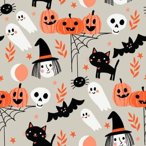 cute halloween fabric - witch, bat, cat, spider, ghosts fabric - tan