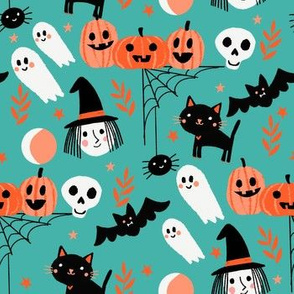 cute halloween fabric - witch, bat, cat, spider, ghosts fabric - turquoise
