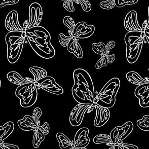 butterflies pattern line drawing white black 1