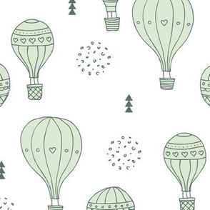 Sweet dreams hot air balloon sky scandinavian geometric style design gender neutral mint green LARGE