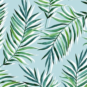 Palm leaves. Blue background