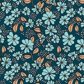 Retro blossom summer garden boho style neutral nursery design navy blue caramel