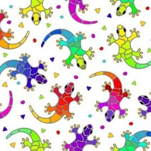good luck geckos on white