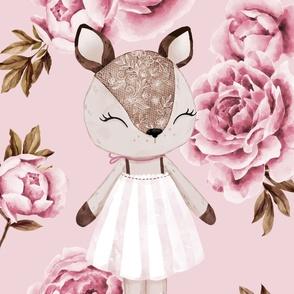 Deer Peony - animal portrait - minky panel