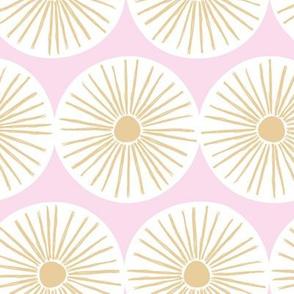 Retro sunshine sunny day sweet Scandinavian abstract suns gender neutral nursery print yellow pink white JUMBO