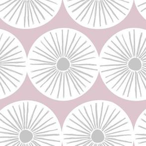Retro sunshine sunny day sweet Scandinavian abstract suns gender neutral nursery print mauve white gray JUMBO