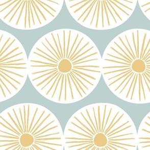 Retro sunshine sunny day sweet Scandinavian abstract suns gender neutral nursery print sky blue yellow white JUMBO