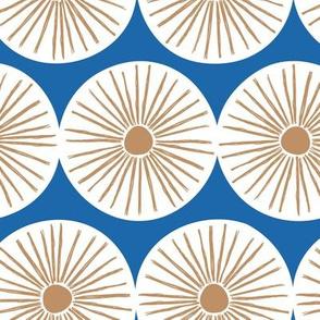 Retro sunshine sunny day sweet Scandinavian abstract suns gender neutral nursery print classic blue rust brown white JUMBO