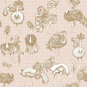 Large Scale Pink Fancy Ostriches