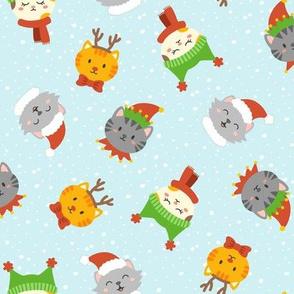 Cute Christmas Kitties on Blue