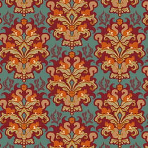 Squirrel Damask - Autumn palette small scale