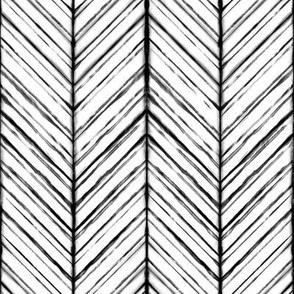Shibori Herringbone Light - Black and White