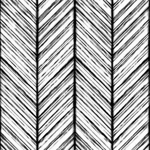 Shibori Herringbone - Black and White