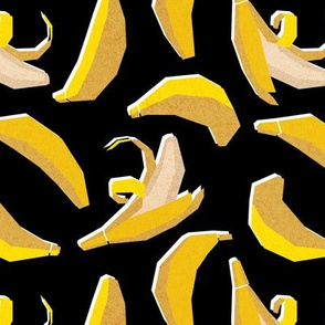 Small scale // Paper cut geo bananas // black background yellow geometric fruits
