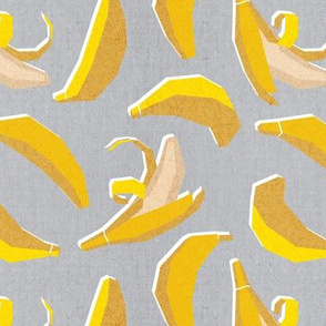 Small scale // Paper cut geo bananas // grey background yellow geometric fruits