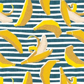 Small scale // Paper cut geo bananas // white and teal stripes on background yellow geometric fruits
