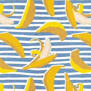Small scale // Paper cut geo bananas // white and blue stripes on background yellow geometric fruits
