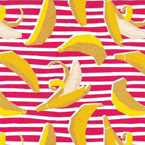 Small scale // Paper cut geo bananas // white and pink stripes on background yellow geometric fruits