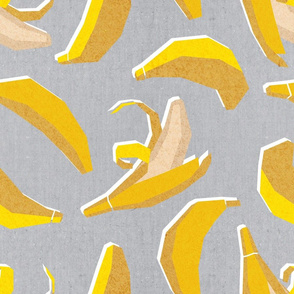 Normal scale // Paper cut geo bananas // grey background yellow geometric fruits