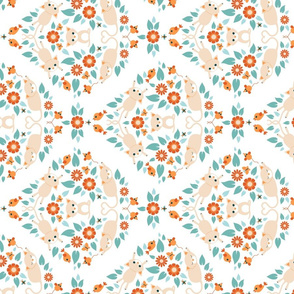 Cat damask on white - rotated