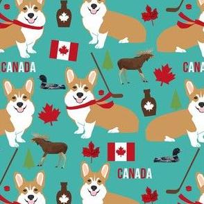 corgi canada fabric - cute dog fabrics - turquoise