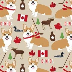 corgi canada fabric - cute dog fabrics - tan