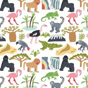 African animals, plants, landscapes