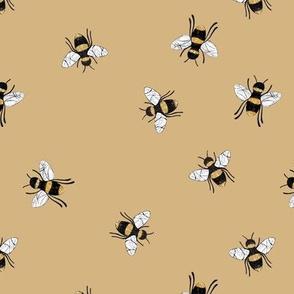 Lovely summer bee boho garden watercolor bumble bees new life nursery caramel brown