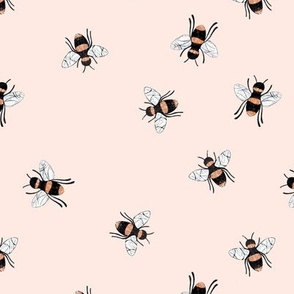 Lovely summer bee boho garden watercolor bumble bees new life nursery pale pink yellow