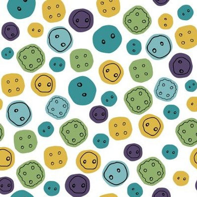 Multi-colored buttons isolated on a white background.