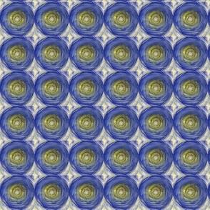 Blue Citrine  Circles with Diamonds