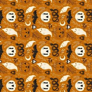 Retro Halloween on Orange Tea Towel