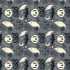 Retro Halloween on Grey Tea Towel