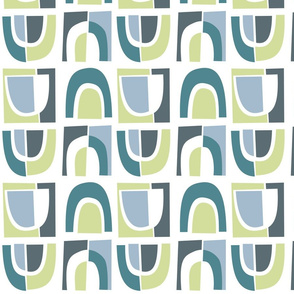Mid-Century Arches Blue Green