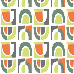 Mid-Century Arches Green, Gray, Orange