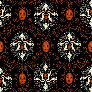 Small Halloween Haunters Damask