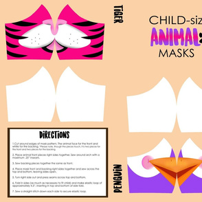 Child Tiger and Penguin Mask in Pink and Purple