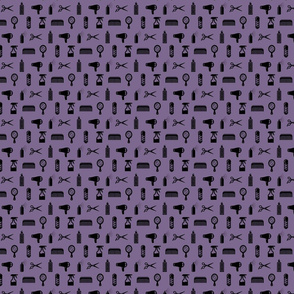 Salon & Barber Hairdresser Pattern in Black with Mauve Purple Background (Mini Scale)