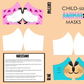 Childrens Bear and Cheetah Face Mask Pink and Blue