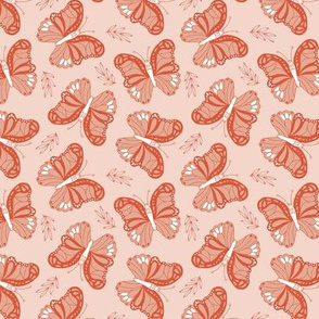 Butterfly love garden boho buzzing insects and leaves romantic girls nursery coral orange