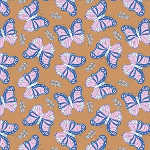 Butterfly love garden boho buzzing insects and leaves romantic girls nursery caramel blue pink