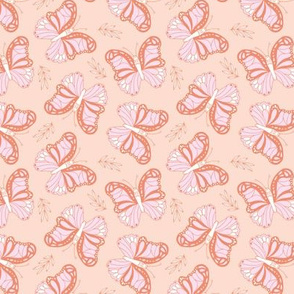 Butterfly love garden boho buzzing insects and leaves romantic girls nursery coral pink blush