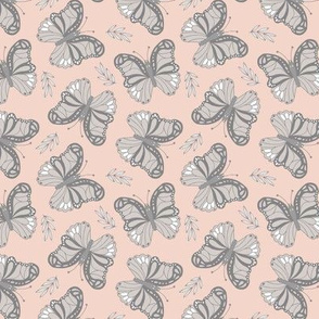 Butterfly love garden boho buzzing insects and leaves romantic girls nursery blush pink gray
