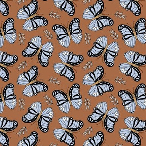Butterfly love garden boho buzzing insects and leaves romantic girls nursery rust brown lavender blue